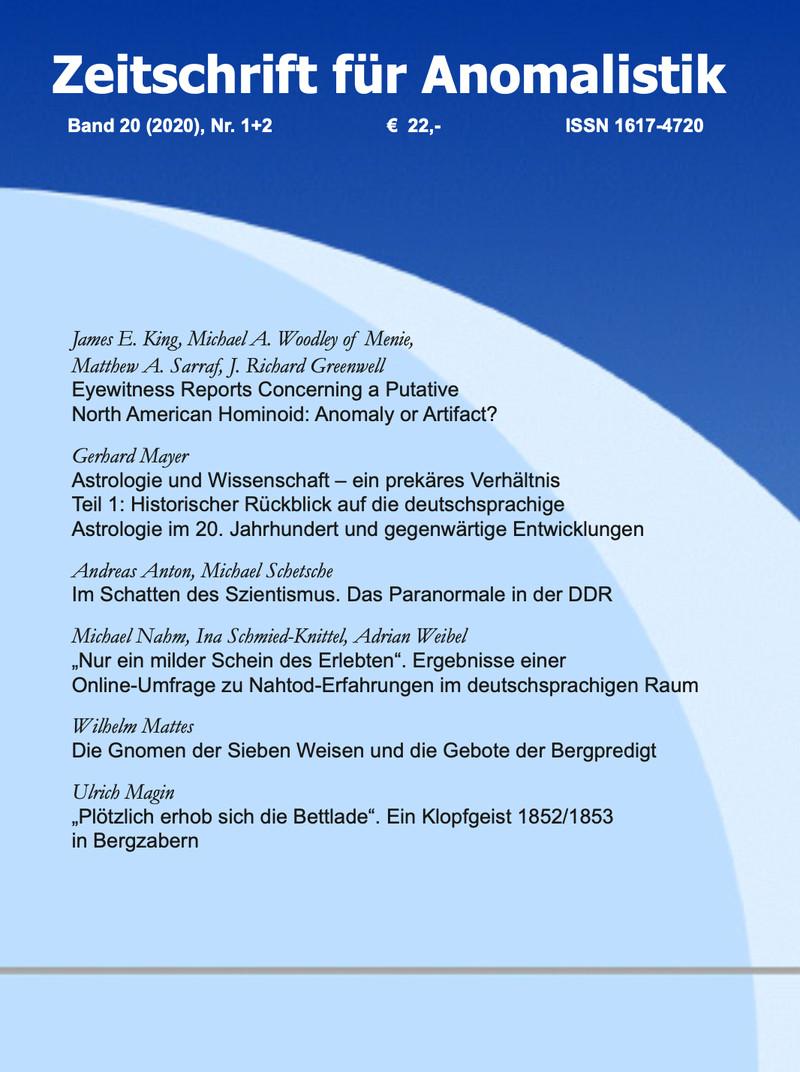Zeitschrift für Anomalistik Band 20 (2020) Nr. 1+2